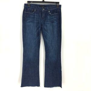Joe's Jeans Dark Wash Distressed Raw Hem Boot Jean